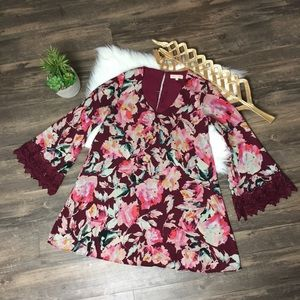 Eight Sixty Floral Dress Bell Sleeves